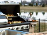 A delicious looking meal out on the gas grill in the outdoor kitchen