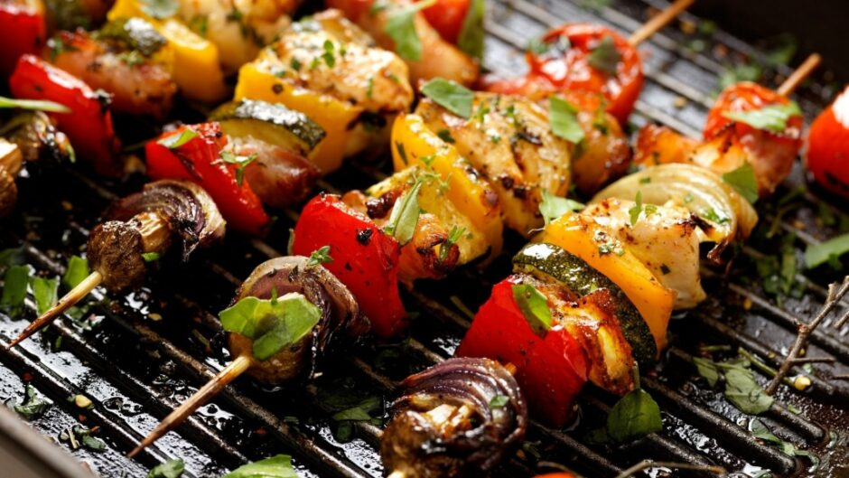 delicious veggie kabobs on the grill