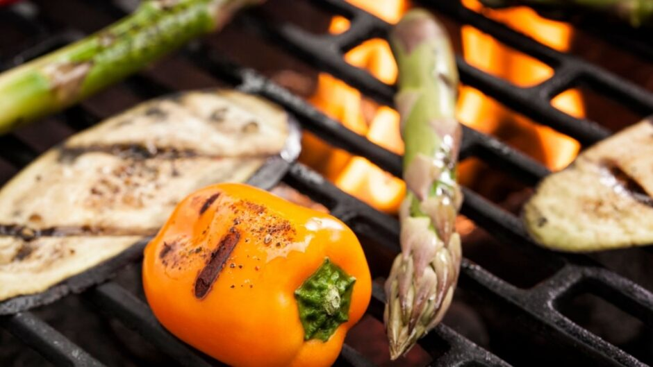 Delicious veggies grilled over a propane grill