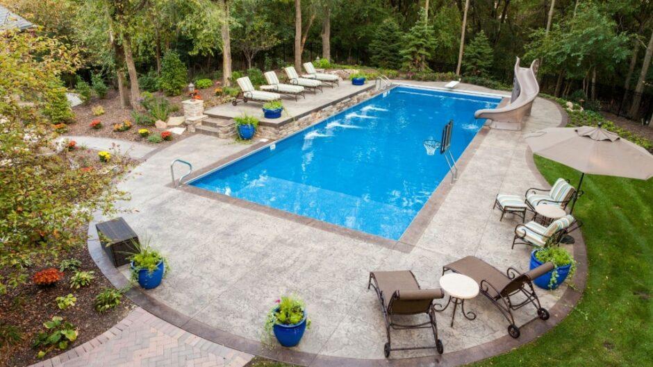 A nice backyard pool heated by propane